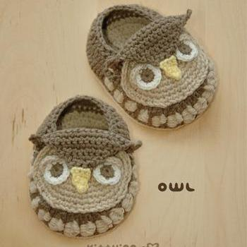 Crochet Pattern - Owl Baby Booties ..