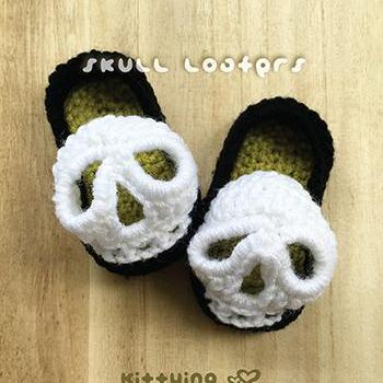 Crochet Pattern Baby Skull Booties ..