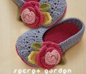 Secret Garden Women's House Ballerina Crochet Pattern, Women's sizes 5 - 10 - Chart & Written Pattern by kittying