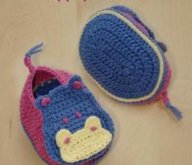 Hippopotamus Baby Booties Crochet PATTERN, SYMBOL DIAGRAM (pdf)