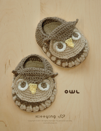 Owl Baby Booties Crochet PATTERN (pdf) By Kittying on Luulla