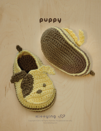 Crochet Pattern Puppy Baby Booties Puppies Preemie Socks Animal Shoes Doggy Applique Doggie Dog Baby Slippers by kittying