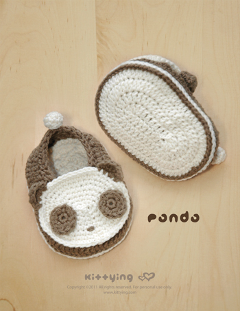 Panda Baby Booties Crochet PATTERN (pdf) by kittying