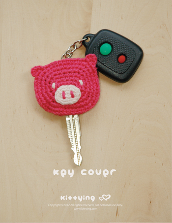 Crochet Patterns Key : Crochet Pattern, Piggy Key Cover, Pig Applique, Pig Head, Pink Yarn ...