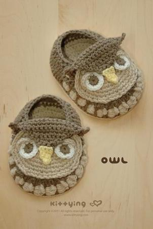 Crochet Pattern - Owl Baby Booties Crochet PATTERN (pdf) by kittying | Owl Baby Booties Owl Preemie Socks Animal Shoes Owl Applique Owl Baby Slippers Crochet Pattern (OB01-K-PAT)