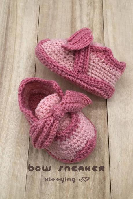 Crochet Baby Shoes Pattern for Toddler Bow Sneakers Crochet Patterns Toddler Shoes Crochet Booties Crochet Pattern Baby Sneakers Fenty Bow Sneaker Toddler Shoes