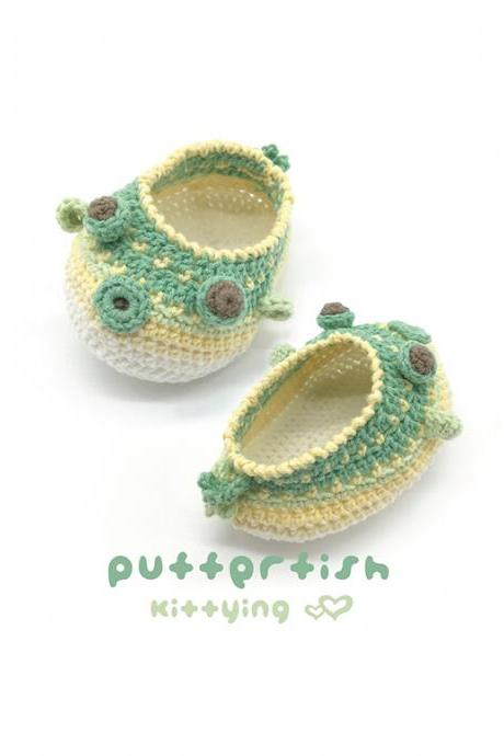 Puffer Fish Booties Crochet Pattern - Puffer Fish Crochet Baby Shoes, Slippers, Moccasins - Sea Creatures Puffer Fish Baby Booties