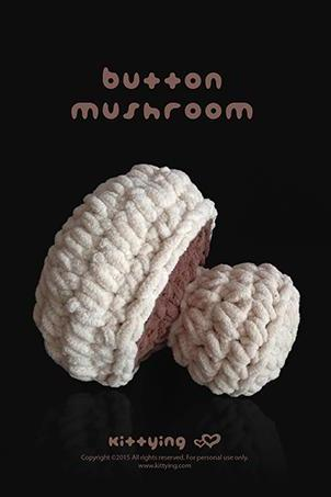 Amigurumi Crochet Pattern Mushroom Amigurumi Mushroom Giant Mushroom Crochet Toy Crochet Mushroom Crochet pdf Pattern Buttom Mushrooms Brown Chart & Written Pattern by kittying