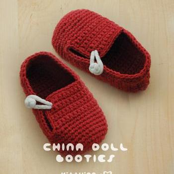 Crochet Baby Booties Written Pattern : China Doll Baby Booties Crochet PATTERN, PDF - Chart ...