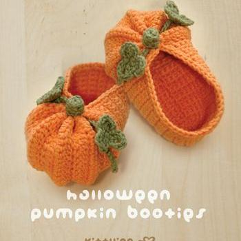 Crochet Baby Booties Written Pattern : Halloween Pumpkins Baby Booties Crochet PATTERN, PDF ...