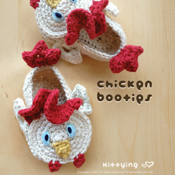Crochet Pattern Chicken Rooster Cockerel Cock Baby Booties 2 Crochet PATTERN PDF - Chart & Written Pattern by kittying