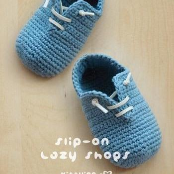 Slip-On Baby Lazy Shoes Crochet PATTERN, PDF - Chart & Written Pattern by kittying