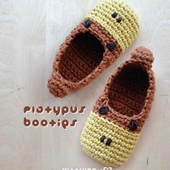 Platypus Baby Booties Crochet PATTERN (Pdf) by kittying Crochet Pattern - Platypus Baby Booties Platypus Preemie Socks Animal Shoes Platypus Newborn Home Slippers Crochet Pattern (PB07-B-PAT)