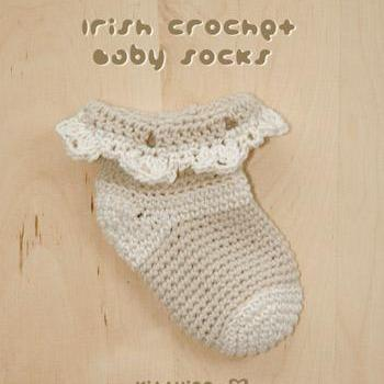 Crochet Pattern - Irish Baby Socks Crochet Pattern Preemie Shoes Beige Crochet Baby Socks Crochet Pattern