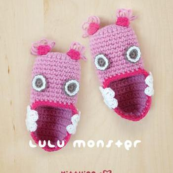 Crochet Pattern - Lulu Monster Baby Booties Preemie Socks Newborn Shoes Crochet Monster Slipper Crochet Toe Puppet Crochet Toys (ML01-P-PAT)