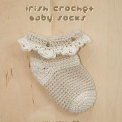Crochet Pattern - Irish Crochet Baby Socks Preemie Shoes Beige Crochet Baby Socks Crochet Pattern (ICS01-K-PAT)