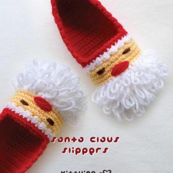 Crochet Children Pattern Santa Claus Children Slippers Crochet PATTERN for Christmas Winter Holiday - Size 10 11 12 13 1 2 3 4 - Chart & Written Pattern by kittying