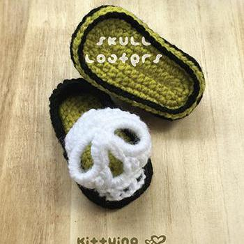Crochet Pattern Skull Baby Booties Skull Baby Loafers Skull Preemie Socks Skull Applique Skull Baby Slippers Crochet Pattern Skull Baby Shoes 3D Skull Crochet Applique by kittying.com from mulu.us