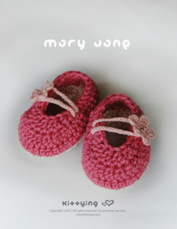 Crochet Baby Booties Written Pattern : Pinky Red Mary Jane Baby Booties Crochet PATTERN, PDF ...